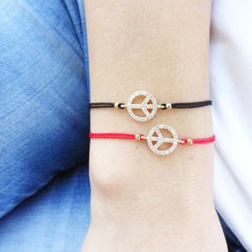 Friendship matching bracelets, peace sign string bracelets, zirconia mom mommy and me, gift for mothers, best friend birthday, zircon