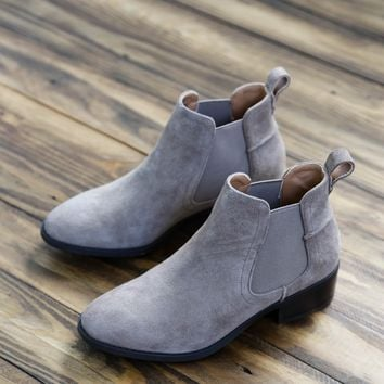 Dicey Suede Booties, Taupe | Steve Madden