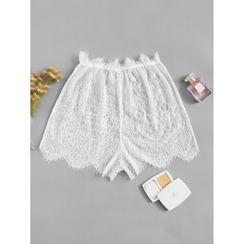 Eyelash Floral Lace Shorts