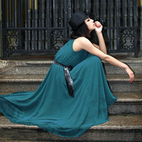 Bohemian Chiffon Green Long Dress $44.00