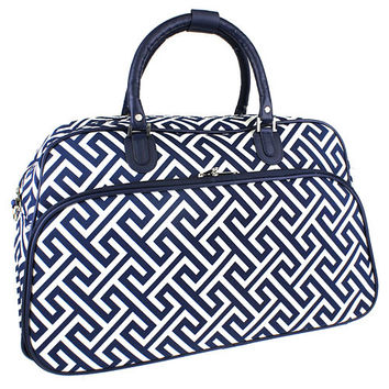 Pre-packed Maternity Hospital Labor Luggage - Greek Key Navy