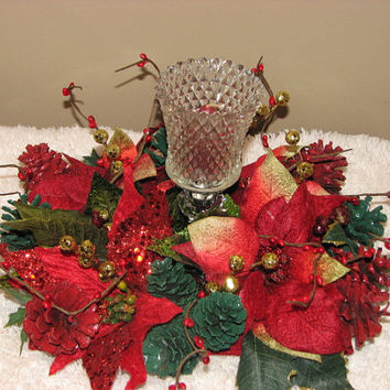 Crystal Candleholder Christmas Centerpiece Winter Floral Arrangement Poinsettias red and green painted pinecones berries wedding centerpiece