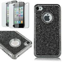 Pandamimi Deluxe NEWEST 2nd Generation Black Chrome Glitter Bling Crystal Rhinestone Hard Case Skin Cover for Apple AT&T,Sprint,Verizon iPhone 4 4S 4G With 2 pcs Screen Protector