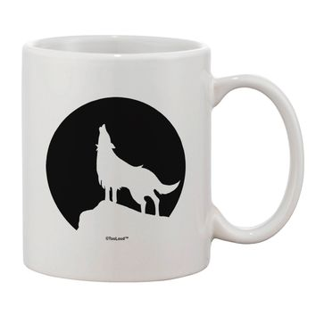Wolf Howling at the Moon - Design #1 Printed 11oz Coffee Mug by TooLoud