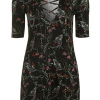 Forest Floral Print Tie-Up Tunic Dress - Black