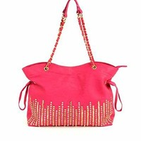 Gold Tone Pyramid Studded Rhinestone Shoulder Bag Purse (Fuchsia)