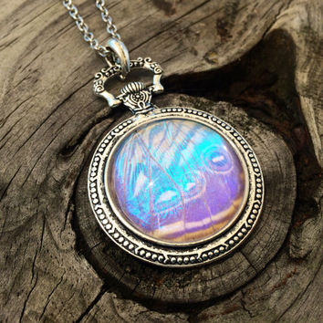 Glowing pendant REAL Butterfly wing jewelry October Birthstone White Opal necklace Rainbow Moonstone necklace Pocket watch Vampire diaries