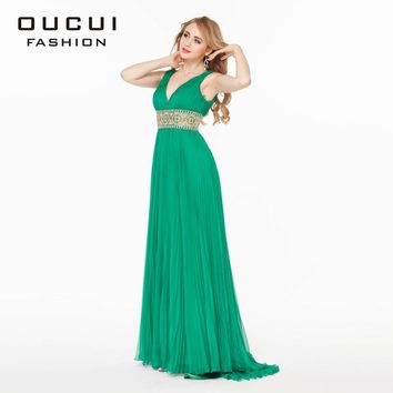 Real Photos Green Color Beading hand work  Long Prom Dress robes de soiree Backless OL102790