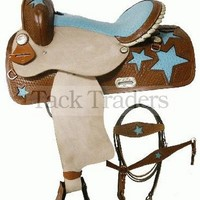 "16"" Double T Ostrich Skin Stars Western Barrel Racing Saddle Set"