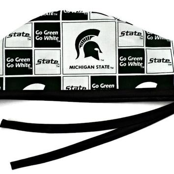 Men's Unlined Surgical Scrub Hat Cap in Michigan Spartans Squares