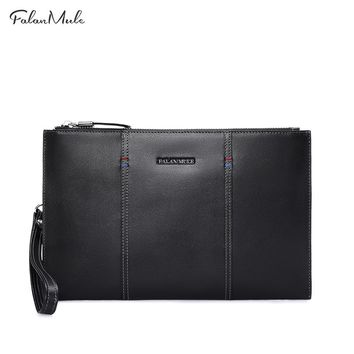 New Fashion Clutch Genuine Leather Wallet Men Clutch Bag Clutch Male Wallet Luxury Leather Men Wallet Can Hold iPad
