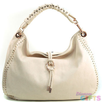 Women's Mini-Studded Fashion Hobo w/ Tassel Accent & Corset Shoulder Strap - Beige Color: Beige