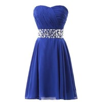 Fashion Plaza Chiffon Strapless Rheinstones Evening Cocktail Crystal Dress D0123 (US8, Lake Blue)