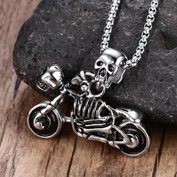 ZORCVENS Men Jewelry Vintage Punk Skeleton Necklace Gothic Biker Skull Motorcycle Stainless Steel Pendant Necklace for Halloween