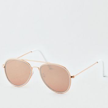 Rose Gold Aviator Sunglasses, Rose Gold