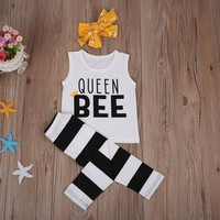 New Toddler And Infant Baby Girl Casual Sleeveless Top+Pants Outfit
