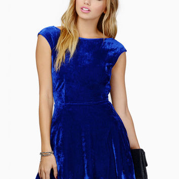 Backless Sleeveless High Waist Open Back Mini A-line Velvet Dress