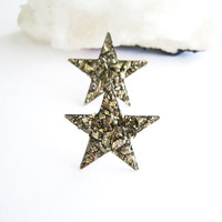 Raw Stone Earrings - Pyrite Star Shaped Stud Earrings - Bohemian