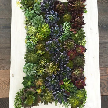 Succulent Arrangement Artificial Succulent Hanging Wall Garden Vertical Garden on Handmade Reclaimed Wooden Frame Indoor Outdoor Home Decor