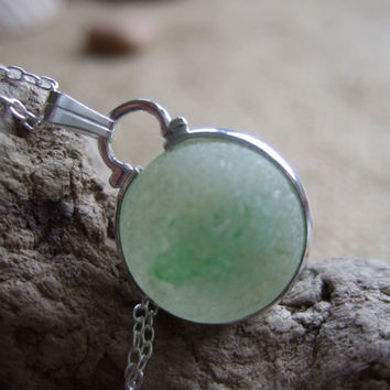 Samphire...Purist sea glass marble necklace...sea glass marble necklace, bezel set beach marble, silver on sterling silver chain