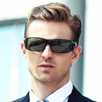 2018 New Fit Over Wrap Around Sunglasses Men Polarized Eyeglasses Prescription Glasses Night Driving Flip up Sunglasses