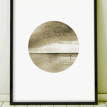 Landscape  Photography Vintage Print Sea Giclee Sepia Ocean Clouds Sky Sailing Yacht Ship Boat Nature Monochromatic Circle PRINTABLE