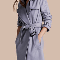 Cashmere Wrap Trench Coat Dusty Blue
