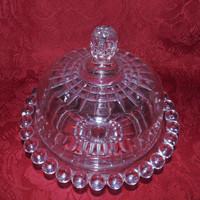 1889 Bryce Brothers Butter Dish in the Atlas Pattern aka Crystal Ball Pattern