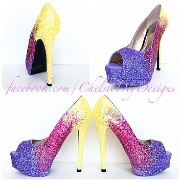 Glitter Peep Toe Pumps, Lilac Pink Yellow Ombre Wedding High Heels