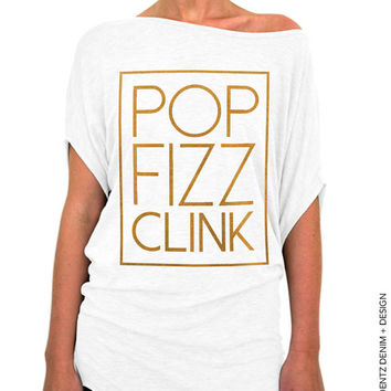 Pop Fizz Clink Slouchy Tee - Cheers - White with Gold Longer Length Slouchy Tee (Small - Plus Sizes)