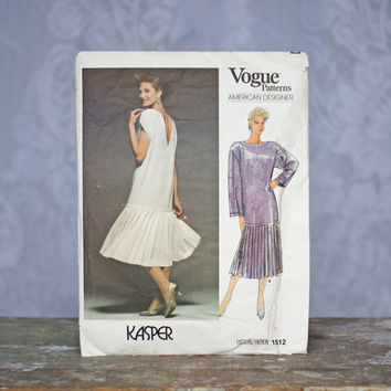 Vogue 1512 Sewing Pattern Evening Gown Kasper Vogue American Designer Drop Waist Pleated Skirt