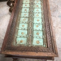Antique Vintage Hand-Carved Wood Coffee Table Beautiful Carving Rectangle Cocktail/Coffee Tea Table
