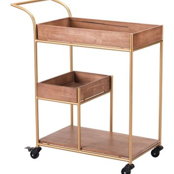 Mid-Century Modern Bar Cart With Tray Brown