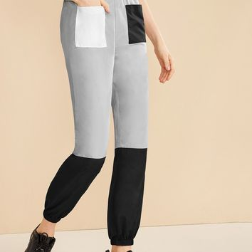 Cut And Sew Pocket Patch Pants