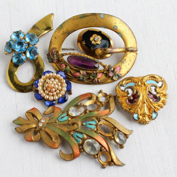 Antique Art Deco & Edwardian Jewelry Repair Lot - 6 Early 1900s Gold Tone Broken Findings - Pins, Buckles, Clips / Old Colorful Destash
