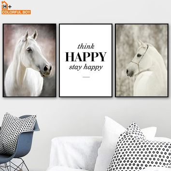 White Horse Happy Quotes Wall Art Canvas Painting Nordic Posters And Prints Animals Pop Art Wall Pictures For Living Room Decor