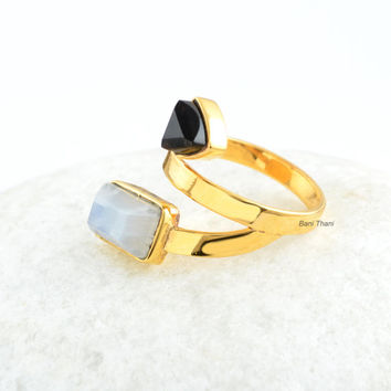 Black Onyx and Rainbow Moonstone Ring-Handmade 925 Sterling Silver-Gold Plated-Octagon 6x10 and Trillion 6mm Gemstones