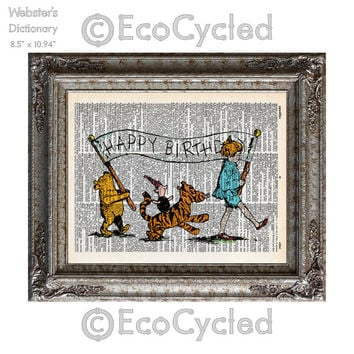 Winnie the Pooh Happy Birthday Banner on Vintage Upcycled Dictionary Art Print Book Art Print Piglet Tigger Christopher Robin Classic Pooh