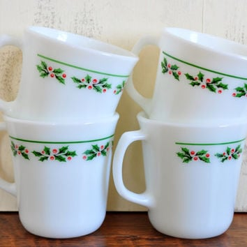 Vintage Corning Milk Glass Holly Days Mugs, Pyrex Christmas Cups