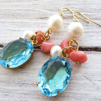 Aquamarine drop earrings, light blue dangle earrings, vintage cabochon earrings, pink coral and pearl earrings, italian summer jewelry