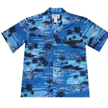 KY's Mens Button Down Hawaiian Shirt with Planes