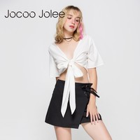 V Neck Half Sleeve Cropped Tops Blouse Women White Wrapped Bow Tie Shirt Sexy Tee Women Casual Top Blouse