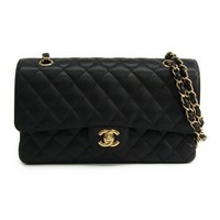 Chanel Matelasse Double Flap Double Chain Bag A01112 Women's Caviar Lea BF313333