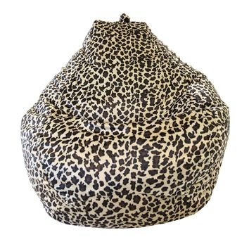Large Tear Drop Safari Micro-Fiber Suede Bean Bag Leopard