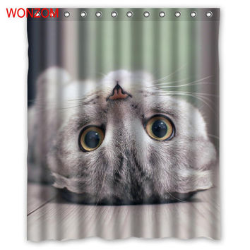 WONZOM 1Pcs Cat Waterproof Shower Polar Bear Curtain Bathroom Decor Peacock Decoration Animal Cortina De Bano 2017 Bath Curtain