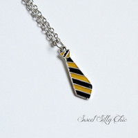 Hufflepuff Tie Necklace, Hand Painted Harry Potter Hufflepuff Hogwarts Yellow Black Tie Short Necklace, Harry Potter Jewelry