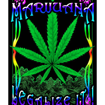 Marijuana Leaf Blacklight Poster
