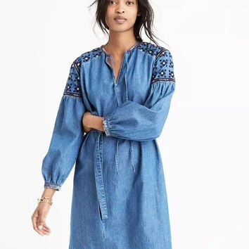 Denim Embroidered Lace-up Dress