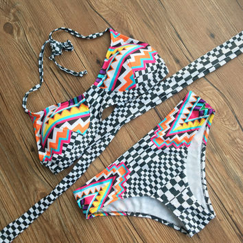 Swimsuit Summer Hot Beach New Arrival Print Adjustable Sexy Swimwear Bikini [10603734927]