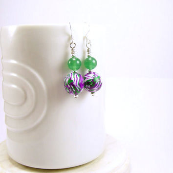 Polymer Clay and Gemstone Beaded Dangle Earrings in Purple Green and White